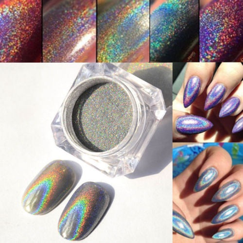 2g Rainbow Holographic Laser Powder Nail Glitter Pigments Decoration