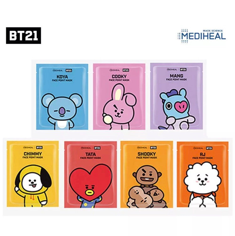 BTS Official BT21 Mediheal Face Point Mask set 4pcs Bookmark postcard