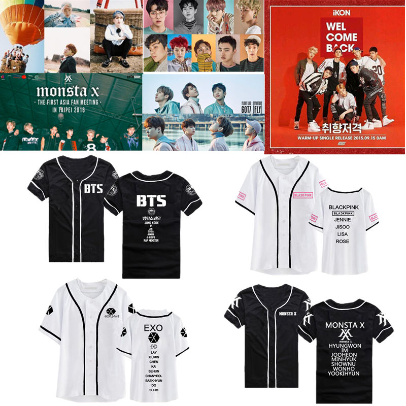 Kpop BTS T-Shirt EXO Baseball Uniform Tshirt Monsta X GOT7 IKON B.A.P Blackpink