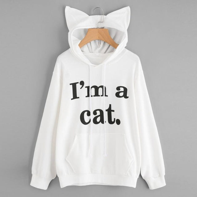 New Womens Cat Long Sleeve Hoodie Sweatshirt