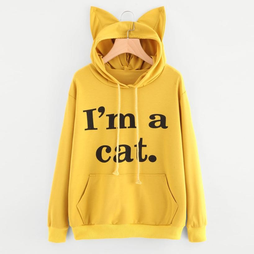 Womens Cat Long Sleeve Hoodie Sweatshirt Hooded Pullover