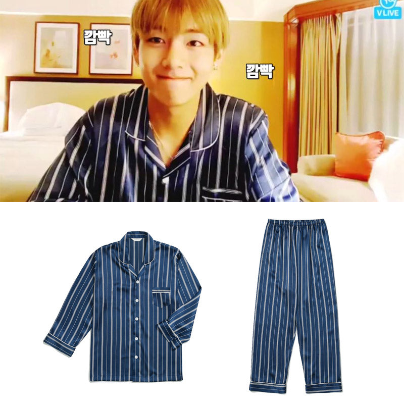 BTS V Same Navy Vertical stripe satin pajamas Harajuku