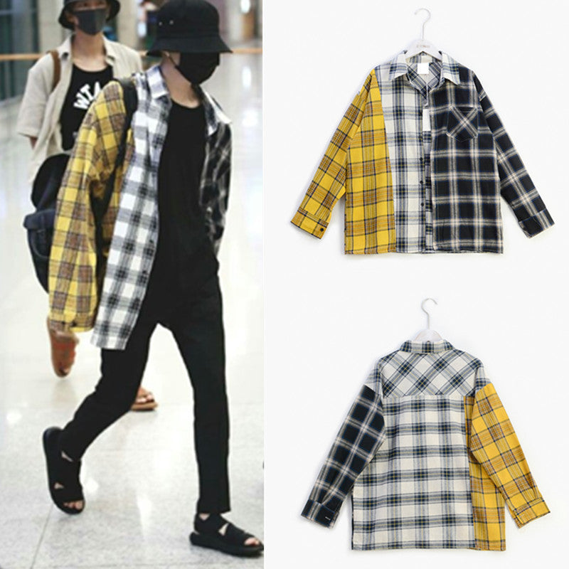 BTS The same paragraph new South Korean fight color plaid jacket