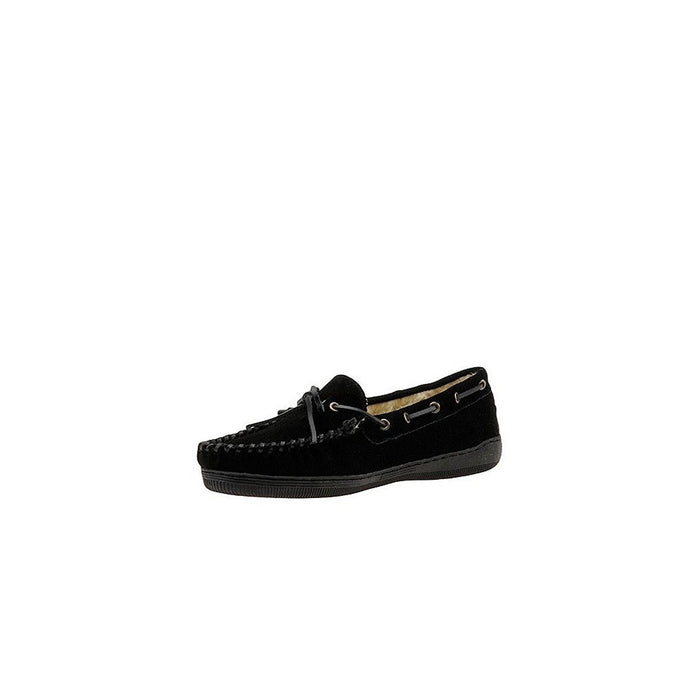 Tamarac by Slippers International Men's Suede Moccasin Slipper,16 4E US,Black-Suede