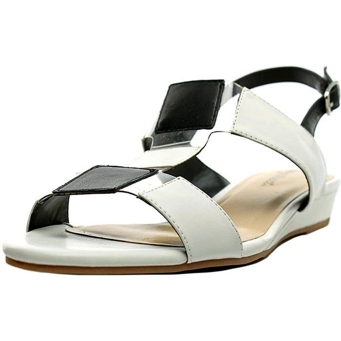 Easy Street Women's Havana White/Black Sandal 12 W (D)