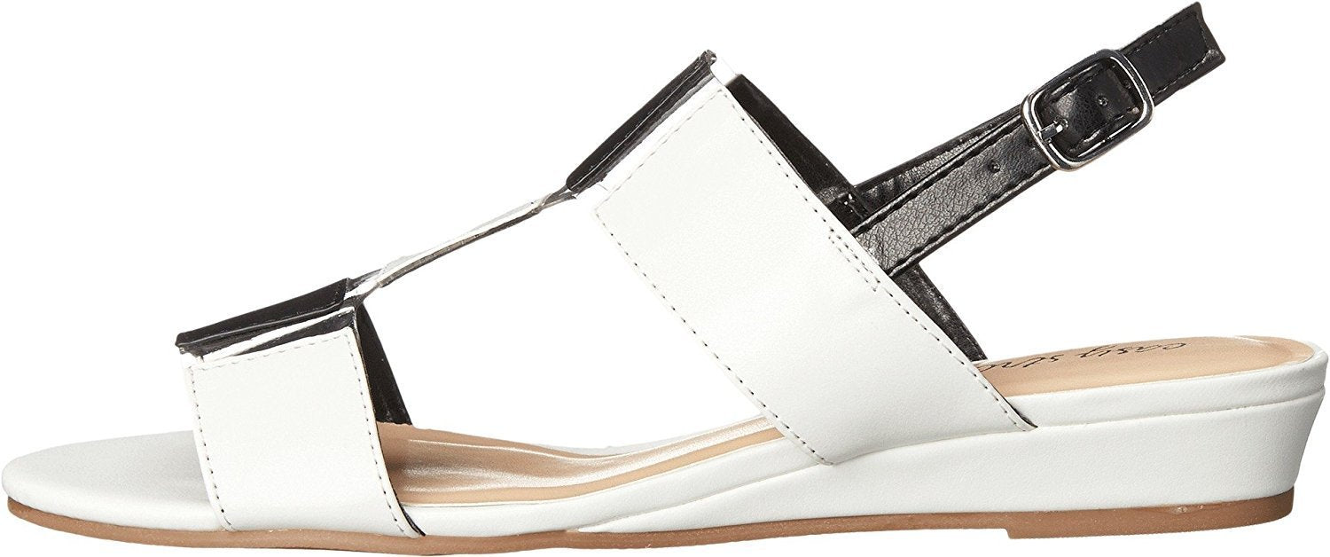Easy Street Women's Havana White/Black Sandal 9 WW (EE)