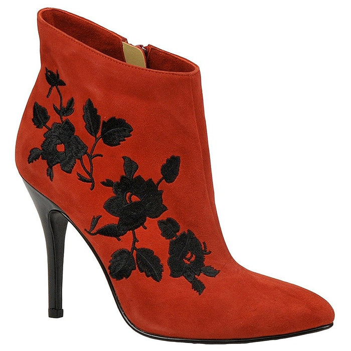 J. Renee Women's Nall Boot 12 C/D US Red-Black-Floral-Suede