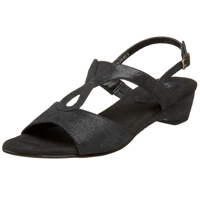 Ros Hommerson Women's Baby Slingback Sandal,Black Microdot Leather,10 N US