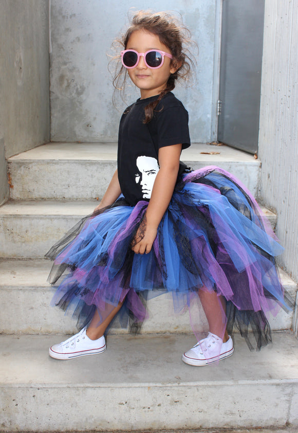 purple tutu, dance tutu, black tutu, punk tutu, unique tutu, cyndi lauper