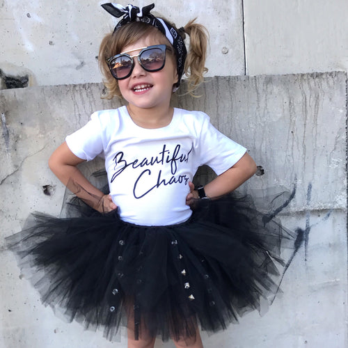Short BLACK & Punk Rock Studs Tutu