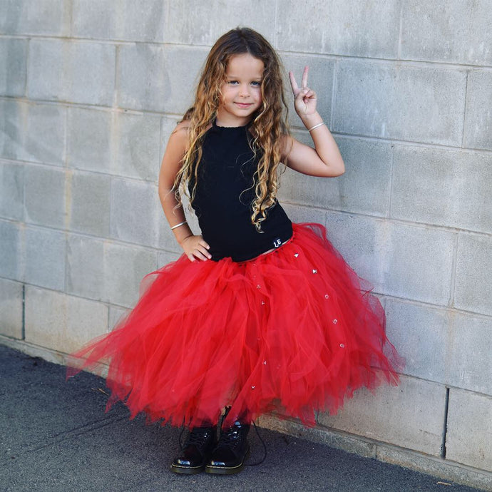 RED & Punk Silver STUDS Mid Length TuTu