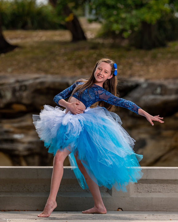 Beautiful Mixed Blue Lacey High Low TUTU
