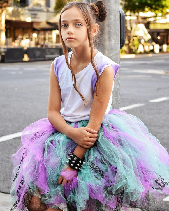 Purple & Teal Lace Mid Length TuTu