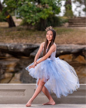 Beautiful Blue & White Lace high low tutu