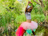 Soft Pink RAINBOW unicorn TaiL High/Low Tutu