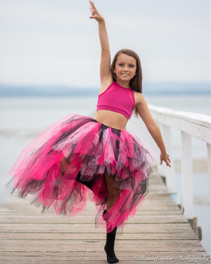 Punky Pink Mix & Studs & Lace High Low style Tutu