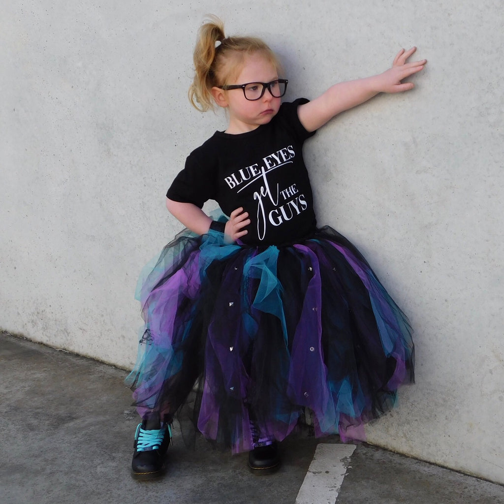 Dark Purple & Teal Studded Mid Length TuTu