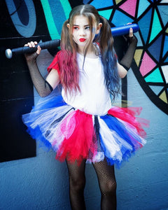 harley quinn, harley quinn costume, halloween tutu, batman costume, blue tutu, red tutu, white tutu, birthday tutu
