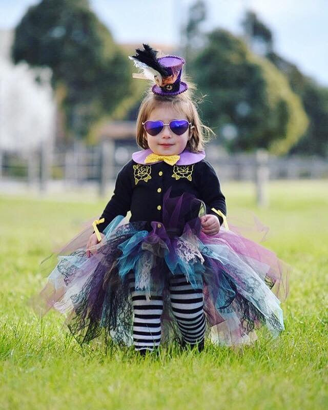 "Teal, Purple ""MAD HATTER"" High Low Tutu"