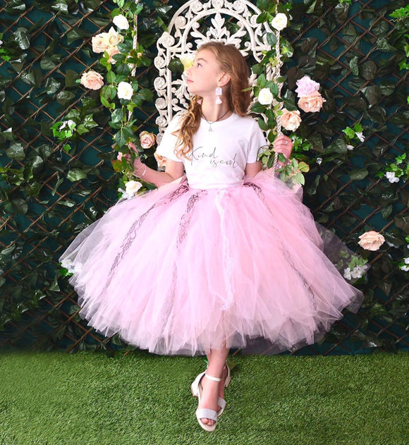Baby Pink & Black/white Lace Mid Length TuTu