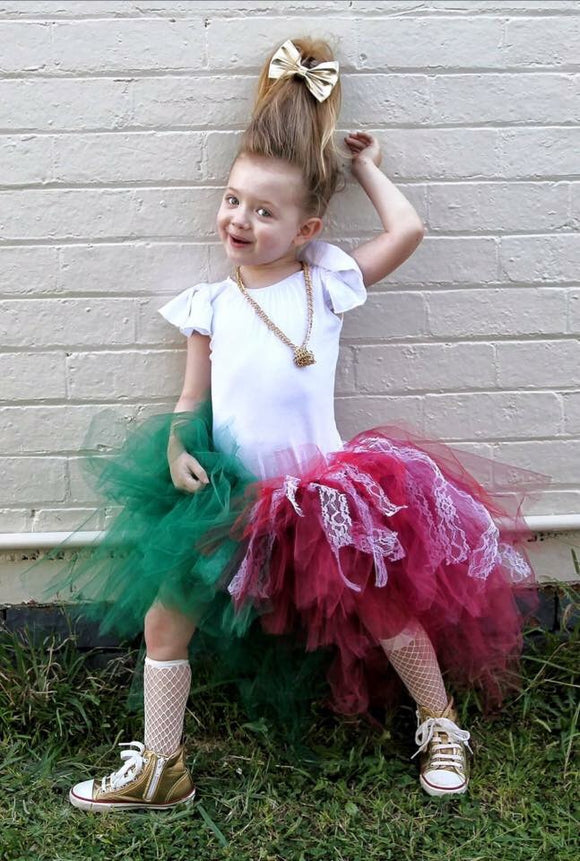 Christmas Half & Half High Low TuTu