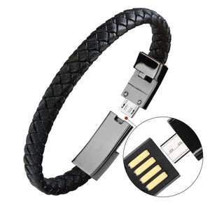 Leather Bracelet USB Charging Cord Lightning Cable iphone and Android