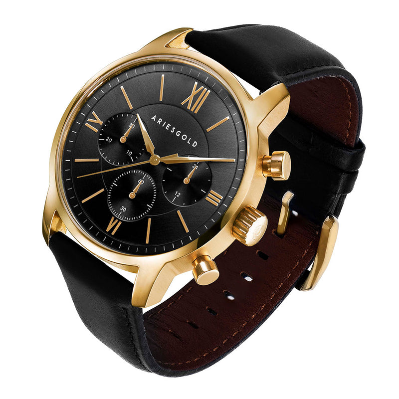 ARIES GOLD URBAN ETERNAL GOLD STAINLESS STEEL G 1027 G-BKG BLACK LEATHER STRAP MEN'S WATCH