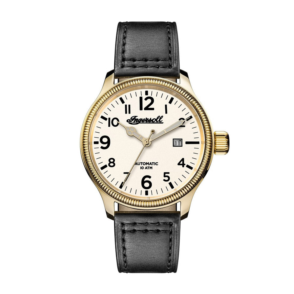 INGERSOLL DISCOVERY THE APSLEY AUTOMATIC GOLD STAINLESS STEEL 102702 BLACK LEATHER STRAP MEN'S WATCH