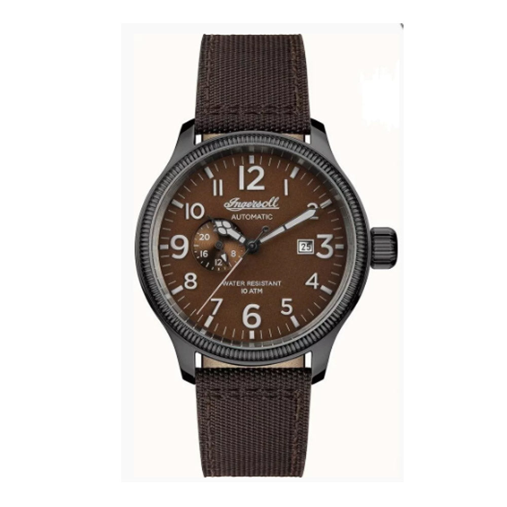 INGERSOLL DISCOVERY THE APSLEY AUTOMATIC GREY STAINLESS STEEL 102803 BROWN NYLON STRAP MEN'S WATCH