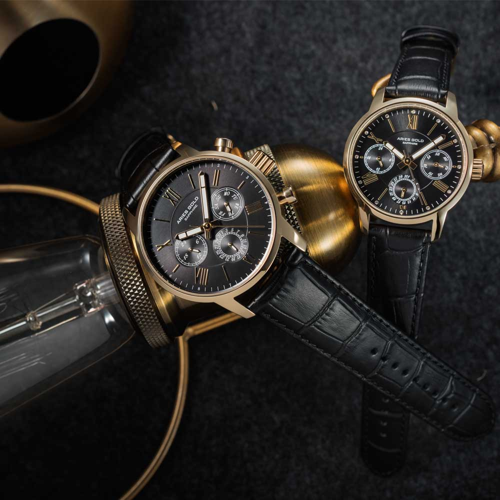ARIES GOLD URBAN ETERNAL G 103 & B 103 G-BK COUPLE'S WATCHES