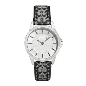 COACH CLASSIC SIGNATURE ANALOG QUARTZ SILVER STAINLESS STEEL 14501524 LEATHER STRAP WOMEN'S WATCH