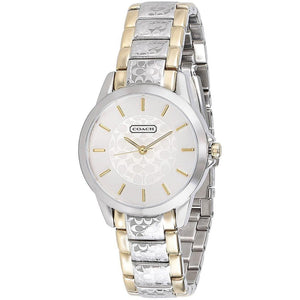 COACH CLASSIC SIGNATURE ANALOG QUARTZ TWO TONE STAINLESS STEEL 14501610 WOMEN'S WATCH