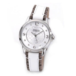 COACH CLASSIC SIGNATURE ANALOG QUARTZ SILVER STAINLESS STEEL 14501619 LEATHER STRAP WOMEN'S WATCH