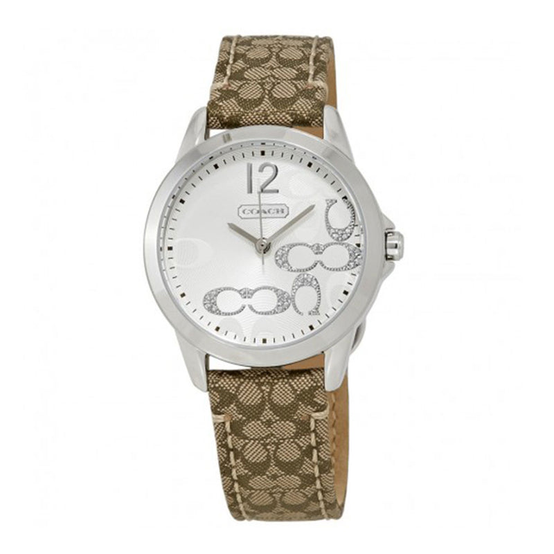 370f19361 COACH CLASSIC SIGNATURE ANALOG QUARTZ SILVER STAINLESS STEEL 14501620 LEATHER  STRAP WOMEN'S WATCH