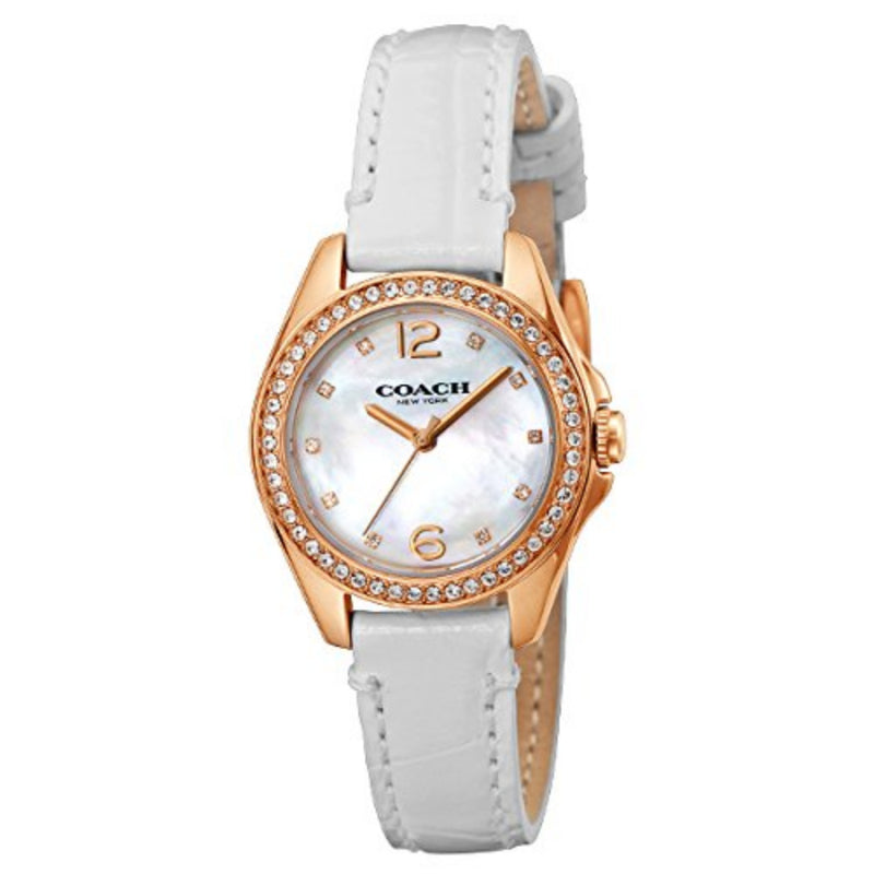 COACH TRISTEN MINI ANALOG QUARTZ ROSE GOLD STAINLESS STEEL 14502102 WHITE LEATHER STRAP WOMEN'S WATCH