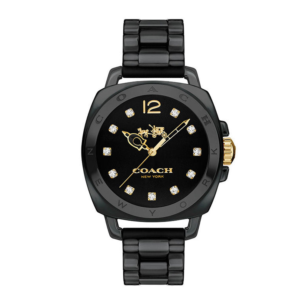 COACH BOYFRIEND BLACK CERAMIC ANALOG QUARTZ 14502504 WOMEN'S WATCH