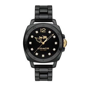 COACH BOYFRIEND ANALOG QUARTZ BLACK CERAMIC 14502504 WOMEN'S WATCH