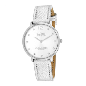 COACH SLIM EASTON SILVER STAINLESS STEEL 14502685 METALLIC LEATHER STRAP WOMEN'S WATCH