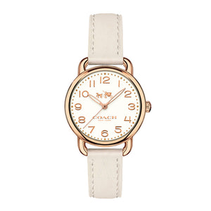 COACH DELANCY ANALOG QUARTZ ROSE GOLD STAINLESS STEEL 14502707 WHITE LEATHER STRAP WOMEN'S WATCH