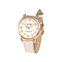 COACH DELANCY ANALOG QUARTZ ROSE GOLD STAINLESS STEEL 14502716 WHITE LEATHER STRAP WOMEN'S WATCH