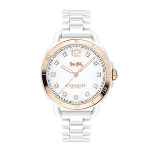 COACH TATUM ANALOG QUARTZ ROSE GOLD WHITE CERAMIC 14502752 WOMEN'S WATCH