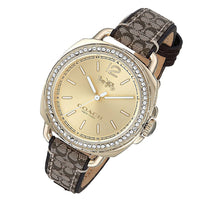 COACH TATUM ANALOG QUARTZ GOLD STAINLESS STEEL 14502770 LEATHER STRAP WOMEN'S WATCH