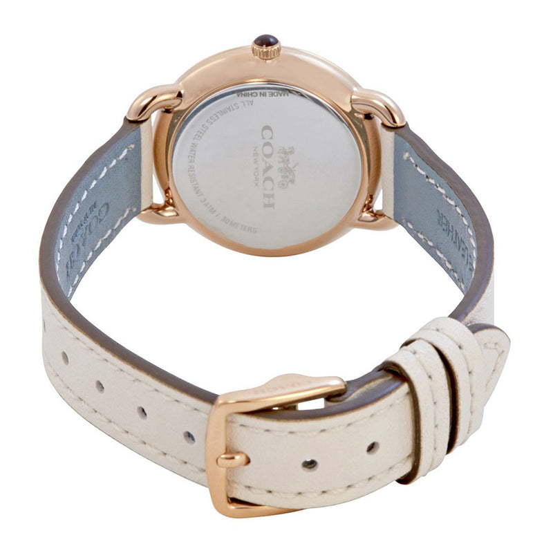 COACH DELANCEY ANALOG QUARTZ ROSE GOLD STAINLESS STEEL 14502790 WHITE LEATHER STRAP WOMEN'S WATCH