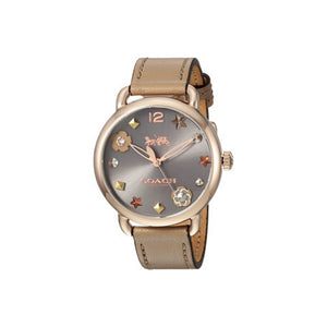 COACH DELANCEY ANALOG QUARTZ ROSE GOLD STAINLESS STEEL 14502797 BROWN LEATHER STRAP WOMEN'S WATCH