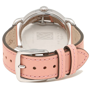 COACH DELANCEY ANALOG QUARTZ SILVER STAINLESS STEEL 14502799 PINK LEATHER STRAP WOMEN'S WATCH