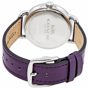 COACH DELANCEY ANALOG QUARTZ PURPLE CRYSTAL SILVER STAINLESS STEEL 14502886 LEATHER STRAP WOMEN'S WATCH