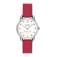 COACH DELANCEY ANALOG QUARTZ SILVER STAINLESS STEEL 14502905 RED LEATHER STRAP WOMEN'S WATCH
