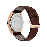 HUGO BOSS CHRONOGRAPH HERITAGE ROSE GOLD STAINLESS STEEL 1513468 BROWN LEATHER STRAP MEN'S WATCH