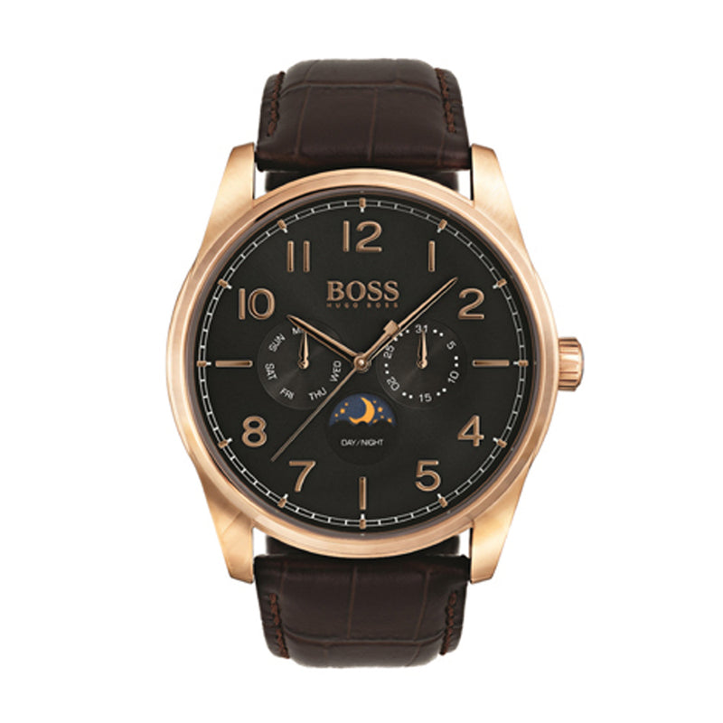 f937bd60c0f6 HUGO BOSS CHRONOGRAPH HERITAGE ROSE GOLD STAINLESS STEEL 1513468 BROWN  LEATHER STRAP MEN'S WATCH