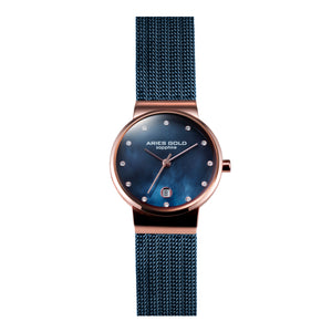 ARIES GOLD ENCHANT CAMILLE ROSE GOLD STAINLESS STEEL L 5002 2TR-BUMOP MESH STRAP WOMEN'S WATCH